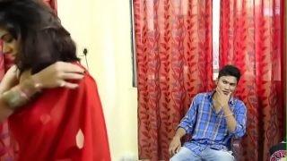 Boy Watching HOT Indian Desi Bhabhi Bra Changing in Hindi